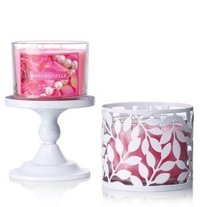 [Set of 2] Avon 2 in 1 Candle Pedestal Metal Leaf